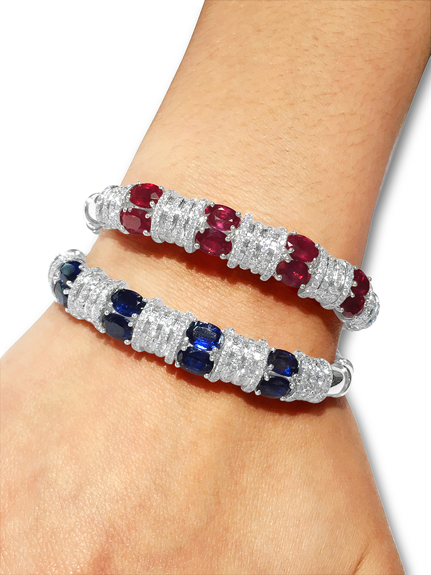 blue and ruth diamond sapphire bangles bracelet platinum gregg bangle tennis